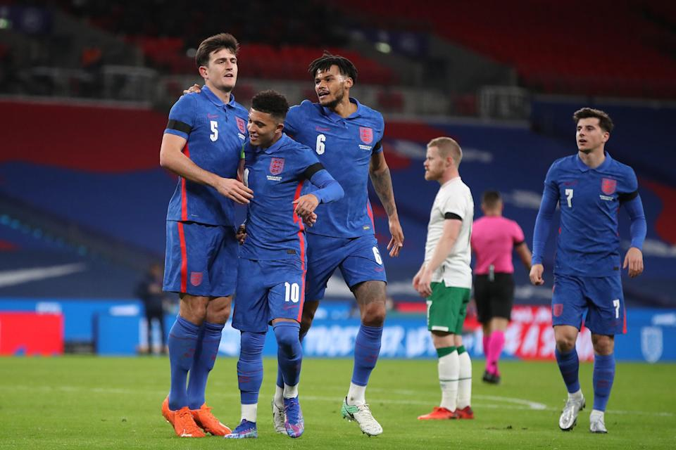<p>Harry Maguire celebrates after scoring England's opener</p> (Getty Images)