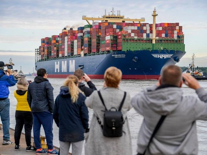 The world's largest container ship in the port of Hamburg