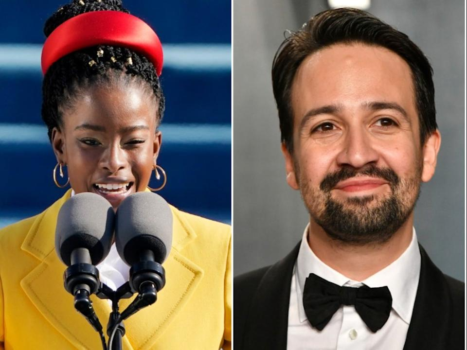<p>Amanda Gorman reveals secret Hamilton references in Twitter exchange with Lin-Manuel Miranda</p> (Getty Images)