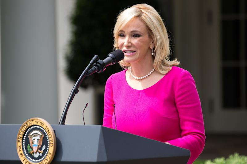 Paula White, aspiritualadviser to the president, speaks at the National Day of Prayer ceremony at the White House onMay 4, 2017. (NurPhoto via Getty Images)