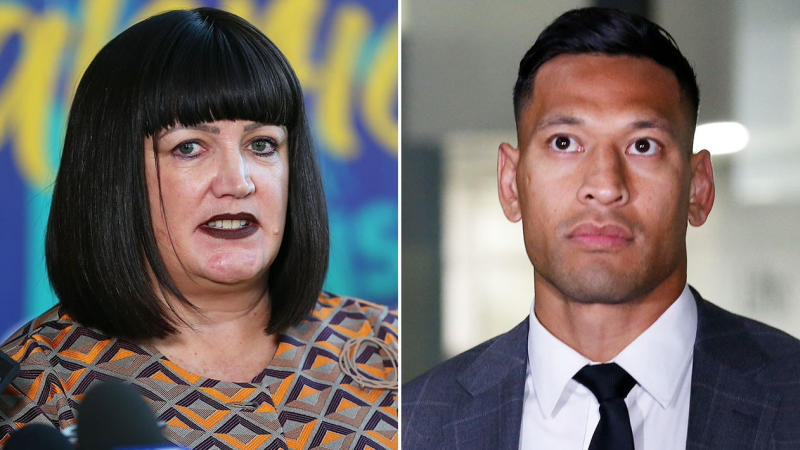 Rugby Australia CEO Raelene Castle at press conference and Israel Folau.