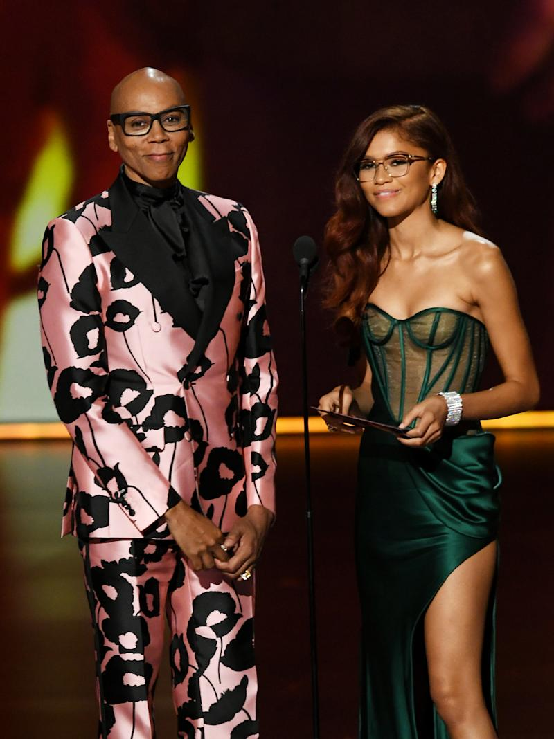 LOS ANGELES, CALIFORNIA - SEPTEMBER 22: (L-R) RuPaul and Zendaya speak onstage during the 71st Emmy Awards at Microsoft Theater on September 22, 2019 in Los Angeles, California. (Photo by Kevin Winter/Getty Images)