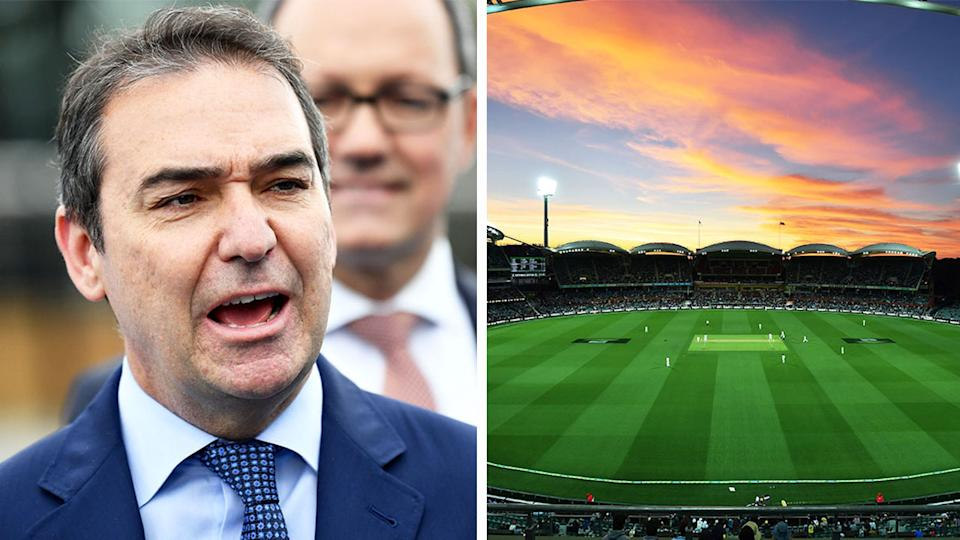 SA Premier Steven Marshall (pictured left) at a press conference and the Adelaide Oval (pictured right).