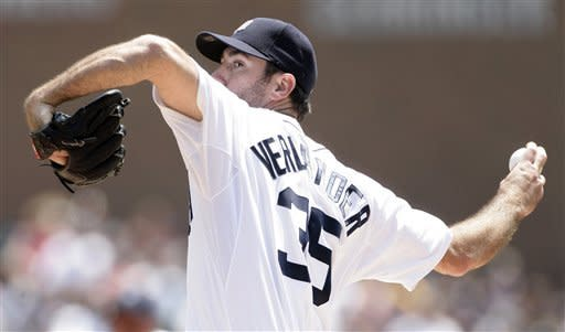 Detroit Tigers starter Justin Verlander pitches against the New York Yankees in the first inning of baseball game on Sunday, June 3, 2012, in Detroit. (AP Photo/Duane Burleson)