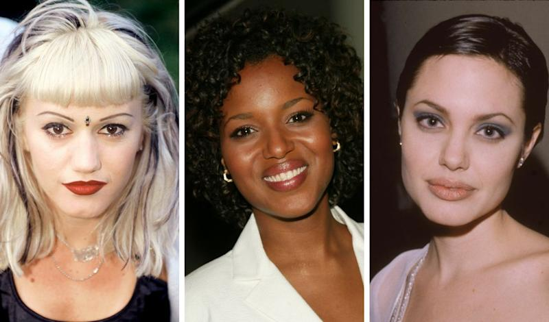 Gwen Stefani, Kerry Washington and Angelina Jolie in the '90s -- it was a different time for brows. (Photo: Getty)
