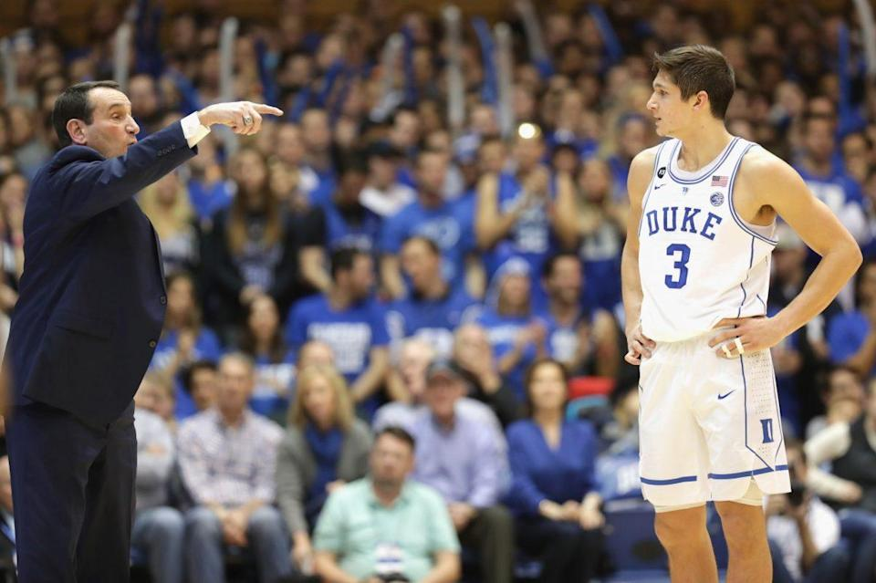 Duke coach Mike Krzyzewski is 43-39 all-time vs. North Carolina heading into Thursday's matchup. (Getty Images)