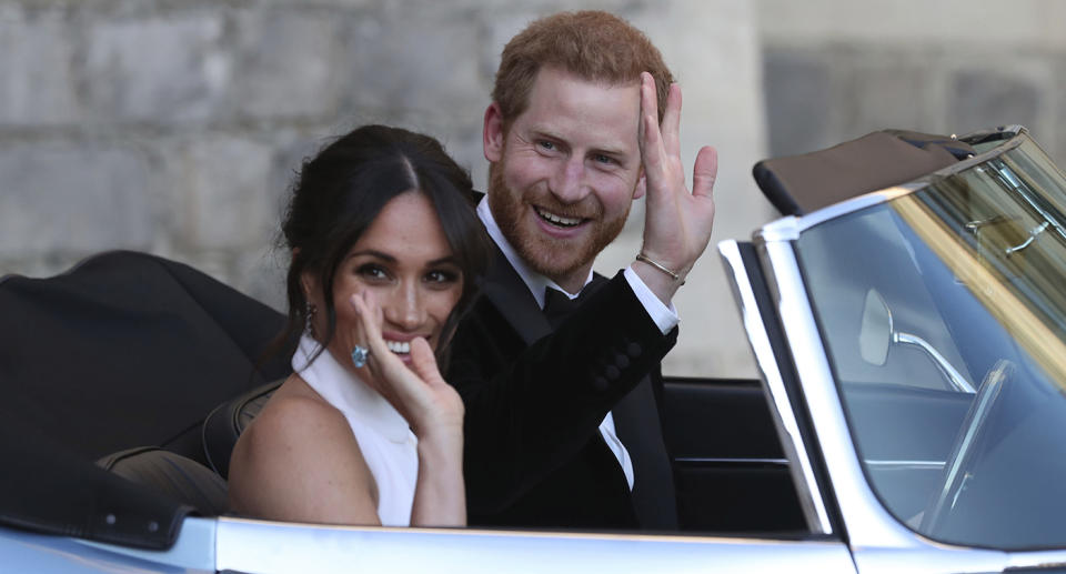 Prince Harry and Meghan, pictured on their wedding day leaving Windsor Castle. Source: AP
