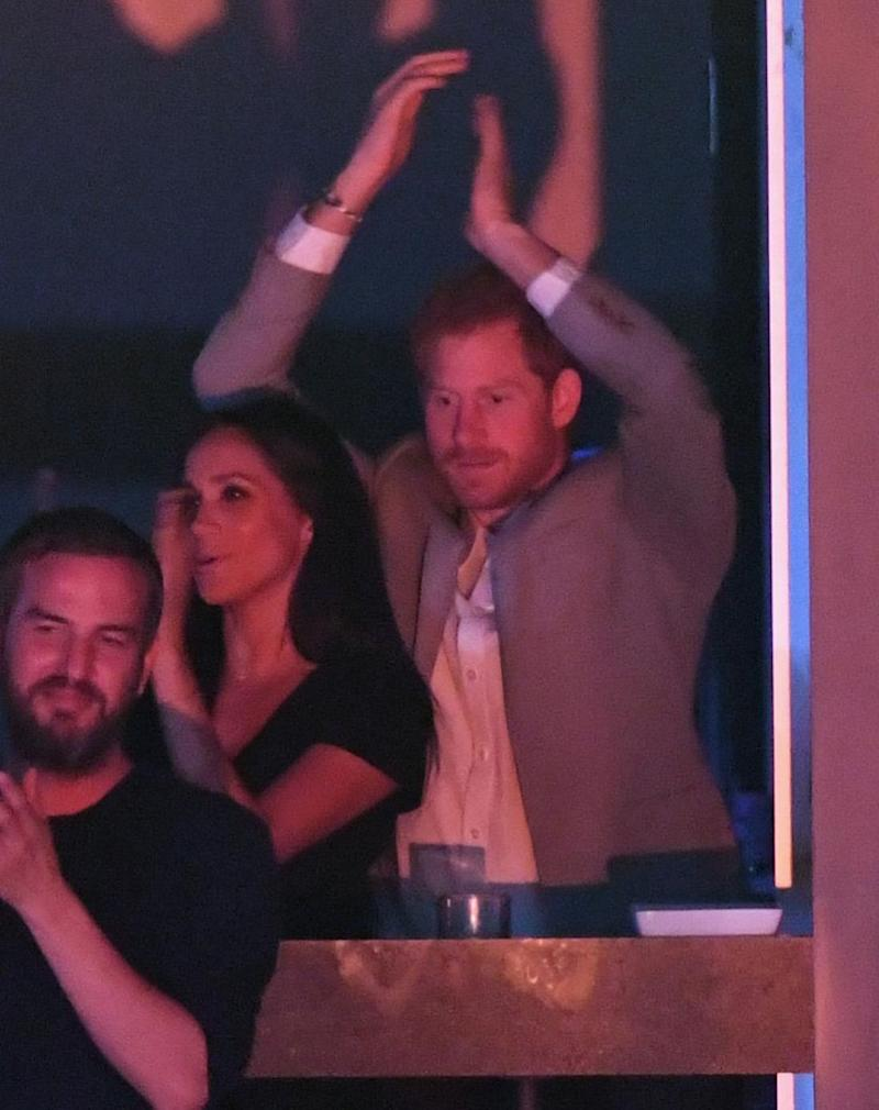 Harry and Meghan giving a standing ovation. Source: Getty