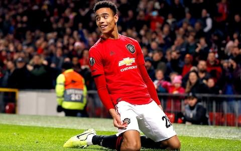 Mason Greenwood celebrates scoring United's second goal of the game - Credit: PA