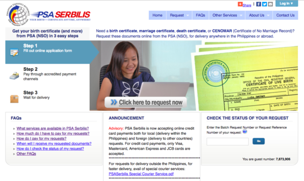 PSA Online Services Philippines - PSA Serbilis Online Application