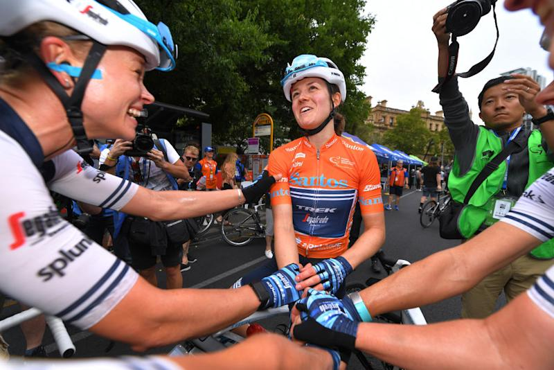 ADELAIDE AUSTRALIA JANUARY 19 Arrival Lotta Hentalla of Finland and Team TrekSegafredo Ruth Winder of The United States and Team TrekSegafredo Orange Leader Jersey Celebration during the 6th Santos Womens Tour Down Under 2020 Stage 4 a 425km stage from Adelaide to Adelaide tourdownunder UCIWT TDU on January 19 2020 in Adelaide Australia Photo by Tim de WaeleGetty Images