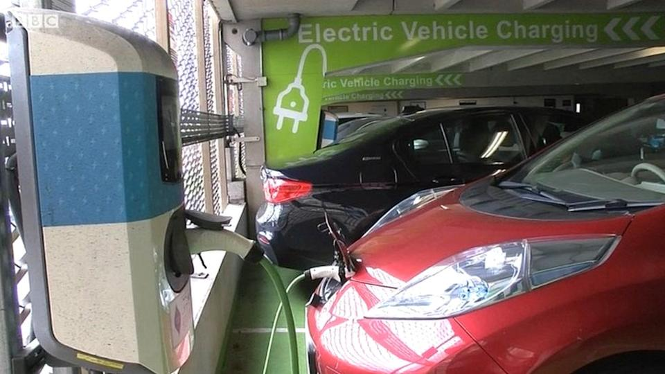 Electric cars being charged