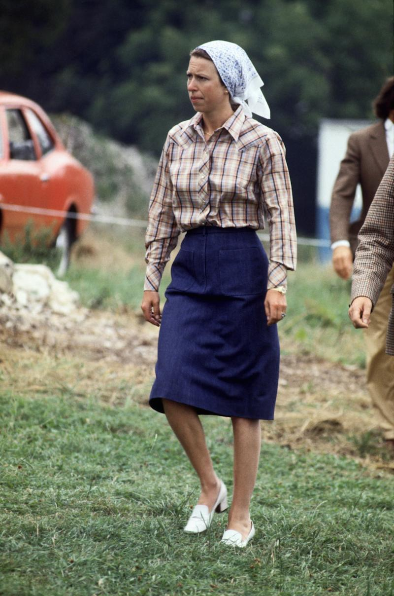 Princess Anne on the course of the first Gatcombe Park Horse Trials in Glouchestershire, August 1983.