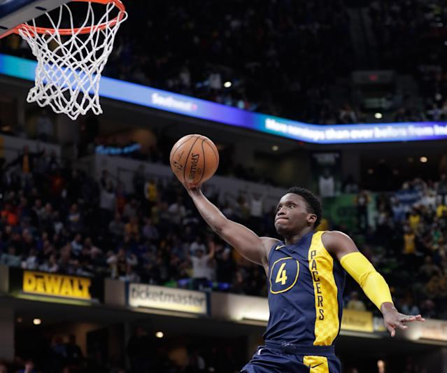 Victor Oladipo's Pacers just became the first team in the Steve Kerr era to sweep a season series against the big, bad Warriors. (AP)