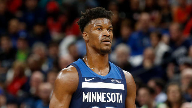 Jimmy Butler reportedly practiced with the Timberwolves on Wednesday, and he didn't seem all that happy about it. (AP Photo/Jim Mone)
