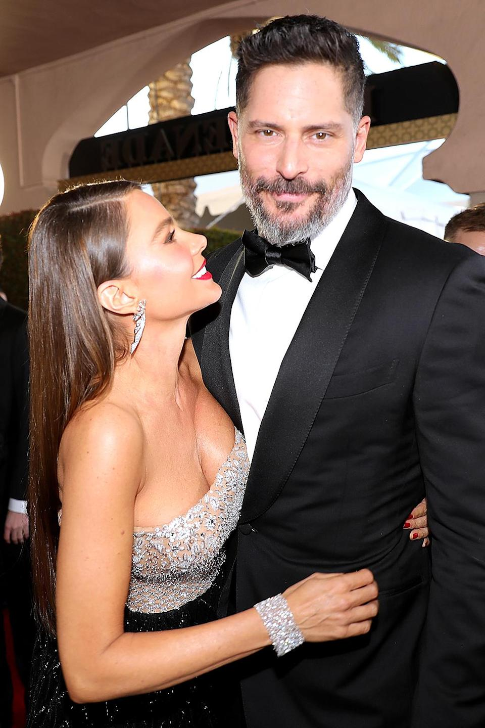 """<p>The pair briefly met at the 2012 MTV Movie Awards and — more memorably — two years later at the White House Correspondents' Dinner, at which he was <a rel=""""nofollow"""" href=""""https://www.yahoo.com/movies/joe-manganiello-caught-checking-sofia-vergaras-butt-months-135000109-us-weekly.html?nf=1"""" data-ylk=""""slk:unabashedly checking her out;outcm:mb_qualified_link;_E:mb_qualified_link;ct:story;"""" class=""""link rapid-noclick-resp yahoo-link"""">unabashedly checking her out</a>. When she split with her fiancé, <a rel=""""nofollow"""" href=""""https://www.yahoo.com/celebrity/sofia-vergara-is-being-sued-by-her-frozen-embryos-184157054.html"""" data-ylk=""""slk:embryo seeker Nick Loeb;outcm:mb_qualified_link;_E:mb_qualified_link;ct:story;"""" class=""""link rapid-noclick-resp yahoo-link"""">embryo seeker Nick Loeb</a>, Joe reached out — through his friend (and her <i>Modern Family</i> co-star) Jesse Tyler Ferguson. Sofia <a rel=""""nofollow"""" href=""""https://www.yahoo.com/tv/sofia-vergara-moving-house-joe-074700497.html"""" data-ylk=""""slk:said;outcm:mb_qualified_link;_E:mb_qualified_link;ct:story;"""" class=""""link rapid-noclick-resp yahoo-link"""">said</a> on <i>The Ellen DeGeneres Show</i> that Joe """"seemed like a lot of work"""" because he was """"so handsome and younger than me and so sexy and best bachelor or whatever he was."""" However, he persuaded her in person to go out with him when he flew to Louisiana, where she was working, and got her to go on a date with him. They said """"I do"""" in 2015. (Photo: Neilson Barnard/Getty Images) </p>"""