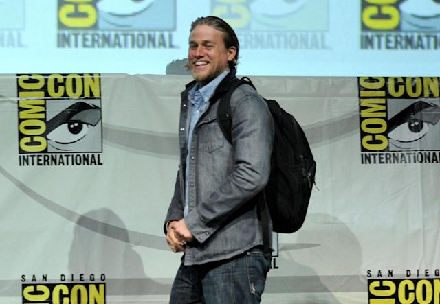 "SAN DIEGO, CA - JULY 21: Actor Charlie Hunnam speaks onstage at the ""Sons Of Anarchy"" panel during Comic-Con International 2013 at San Diego Convention Center on July 21, 2013 in San Diego, California. (Photo by Kevin Winter/Getty Images)"
