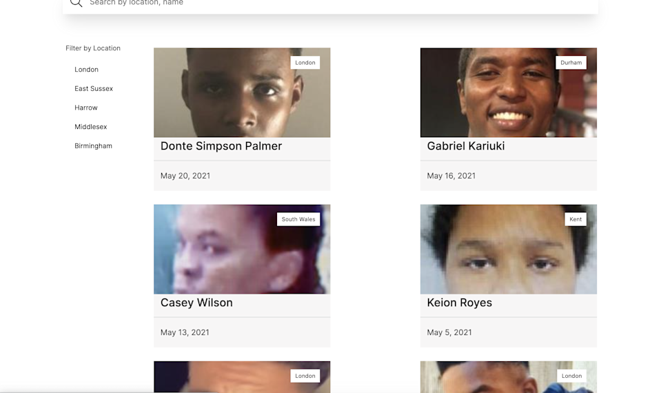 The platform features dozens of cases from across the UKMissing Black People