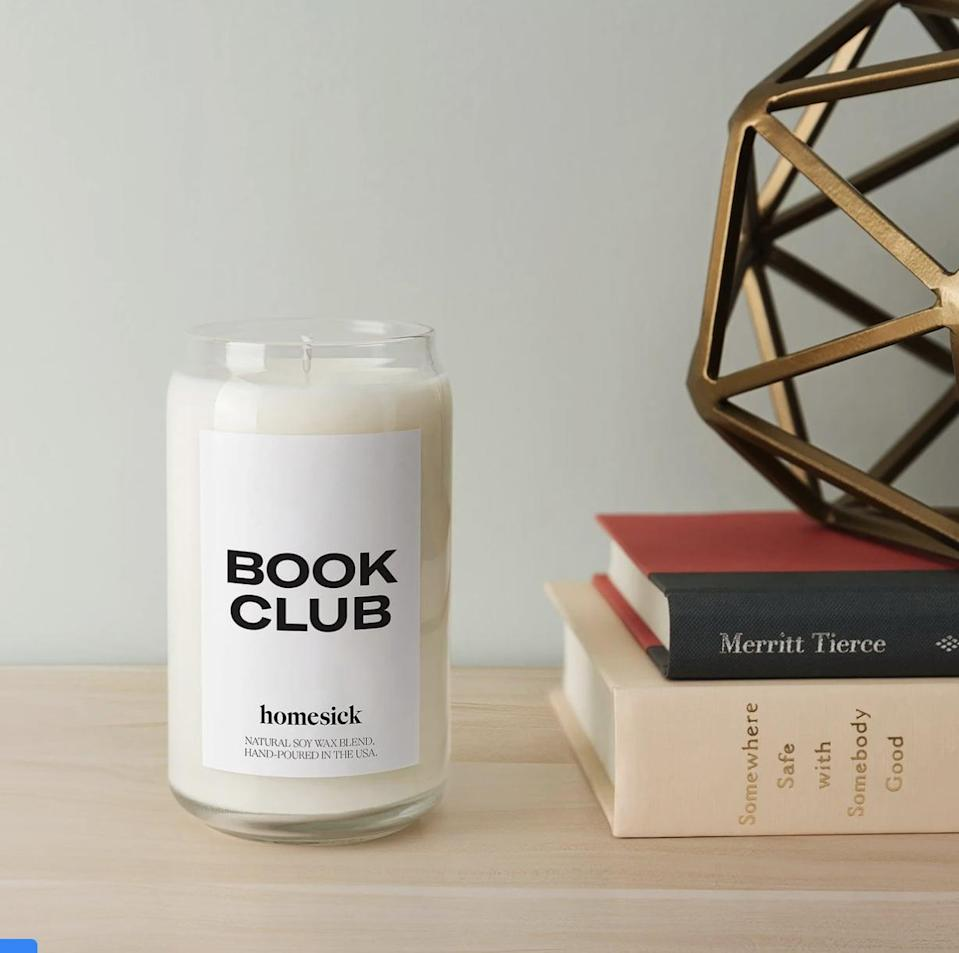 """<p>""""My apartment now constantly bursts with the calming notes of a Homesick candle. Since discovering the brand two months ago, I have ordered a few of their themed options, but one of my favorites as of late is the <span>Book Club Candle</span> ($34). It's partly because it conjures up images of me wrapped in a blanket with my favorite book and partly because it makes my space feel personal and lived-in.</p> <p>""""I especially like to use it on rainy days. With a blend of orange, nutmeg, cinnamon, sandalwood, vanilla, balsam, and amber, it instantly sets the mood for a cozy time at home. I'm drawn to the warm glow of the flame. It burns slowly and can last for up to 80 hours. I also appreciate that it's nontoxic and free of harmful chemicals, which you can immediately notice in the light quality of the scent."""" - SJ</p> <p>If you want to read more, here is the <a href=""""https://www.popsugar.com/smart-living/homesick-candles-review-47937708"""" class=""""link rapid-noclick-resp"""" rel=""""nofollow noopener"""" target=""""_blank"""" data-ylk=""""slk:Homesick Candle"""">Homesick Candle</a> review.</p>"""