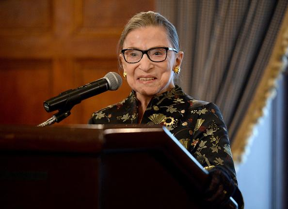 Supreme Court Justice Ruth Bader Ginsburg presents onstage at a reception before An Historic Evening with Supreme Court Justice Ruth Bader Ginsburg at the Temple Emanu-El Skirball Center on September 21, 2016 in New York City