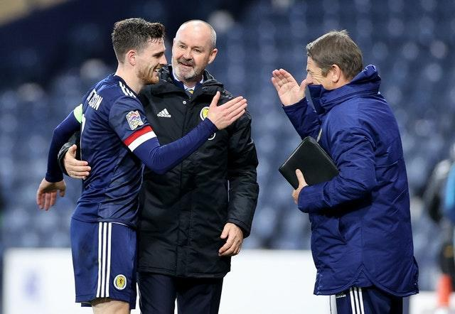 Andy Robertson (left) is confident Scotland can overcome Serbia