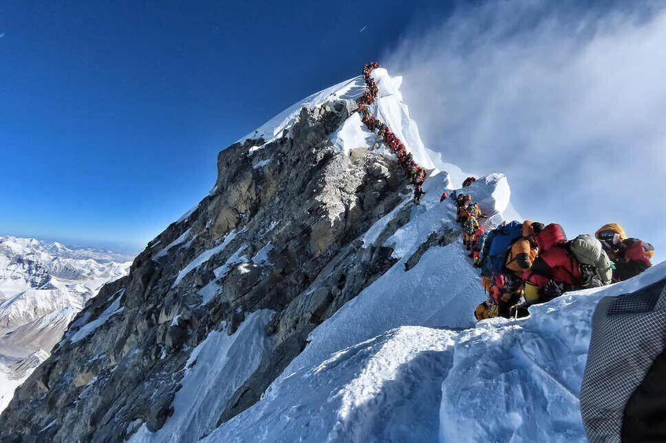 A photo of a queue of climbers on Everest went viral (Picture: AFP/Getty)