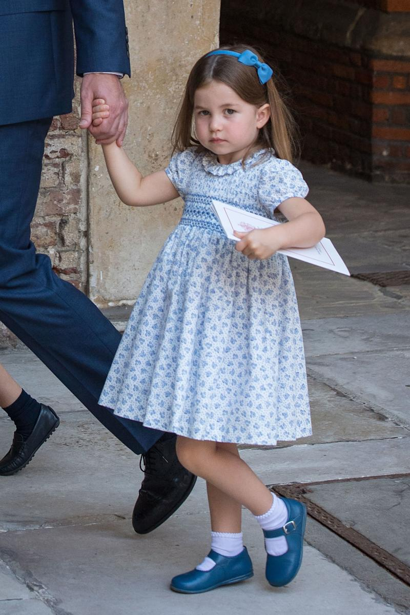 Britain's Princess Charlotte of Cambridge leaves the christening of her brother, Britain's Prince Louis of Cambridge at the Chapel Royal, St James's Palace, London on July 9, 2018. (Photo by Dominic Lipinski / POOL / AFP) (Photo credit should read DOMINIC LIPINSKI/AFP via Getty Images)