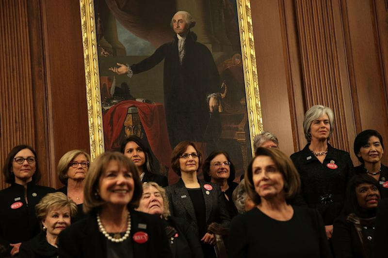 Members of Congress are seen wearing black in the Rayburn Room of the U.S. Capitol in Washington, D.C., ahead of the State of the Union address.