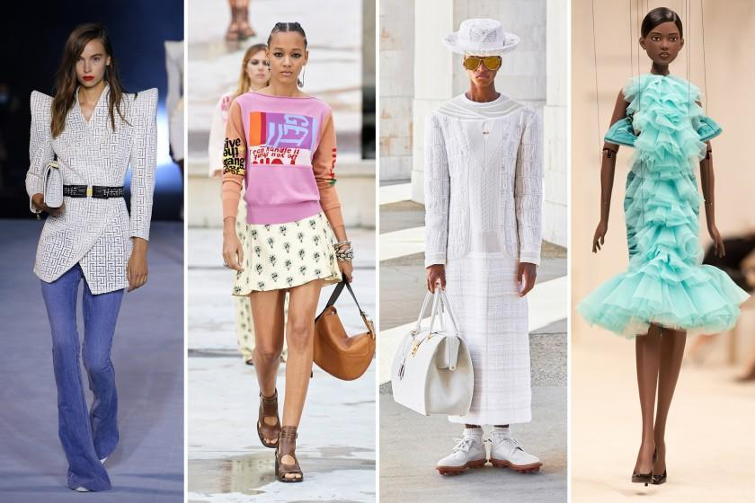 "Spring and summer 2021 runway collection looks by Balmain, from left, Chloé, Thom Browne and Moschino. <span class=""copyright"">(From left: Pascal Le Segretain / Getty Images; Chloé; Thom Browne; Moschino by Marco Ovando)</span>"