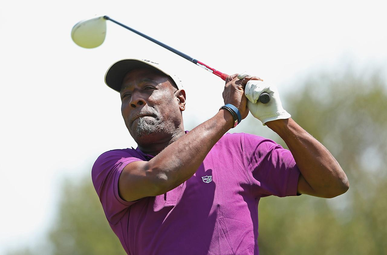 MELBOURNE, AUSTRALIA - NOVEMBER 12:  Former West Indies cricketer Viv Richards tees off during the Melbourne Golf Invitational Pro-Am at Woodlands Golf Club on November 12, 2012 in Melbourne, Australia.  (Photo by Quinn Rooney/Getty Images)