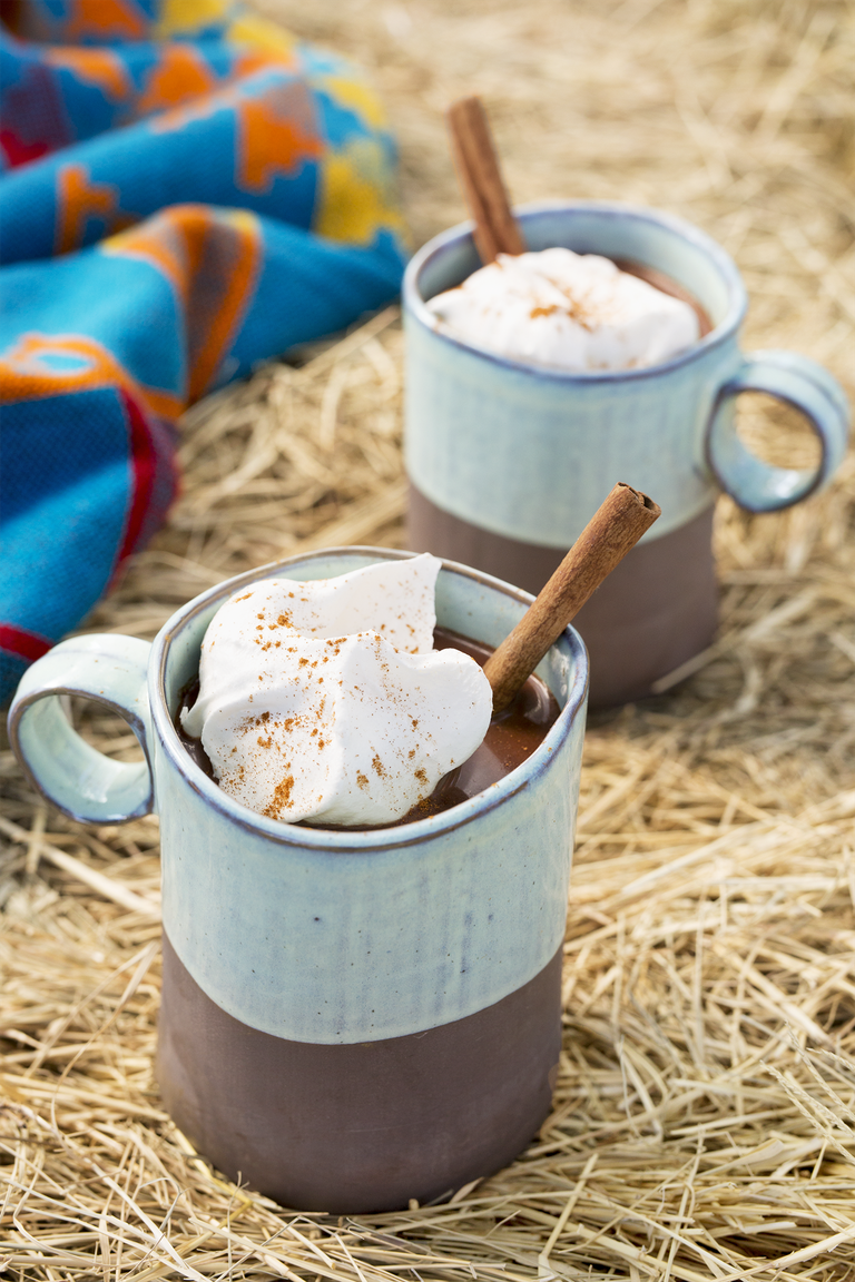 """<p>Just when you think hot chocolate couldn't get any better. Cinnamon sticks and a splash of bourbon will change the way you think of hot cocoa. </p><p><em><a href=""""https://www.countryliving.com/food-drinks/recipes/a45476/spiced-mexican-hot-chocolate-recipe/"""" rel=""""nofollow noopener"""" target=""""_blank"""" data-ylk=""""slk:Get the recipe from Country Living »"""" class=""""link rapid-noclick-resp"""">Get the recipe from Country Living »</a></em></p>"""