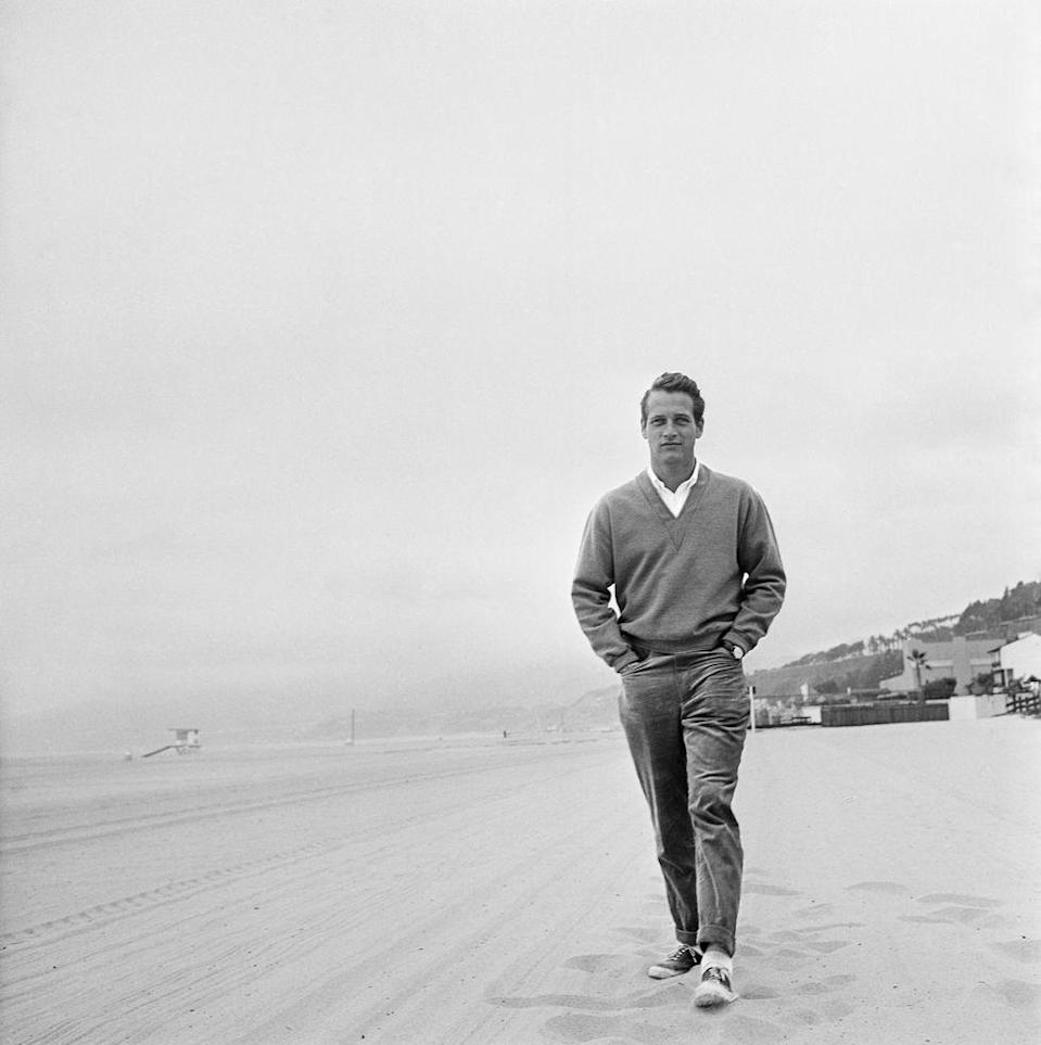 <p>Paul Newman takes a walk in 1958. </p>