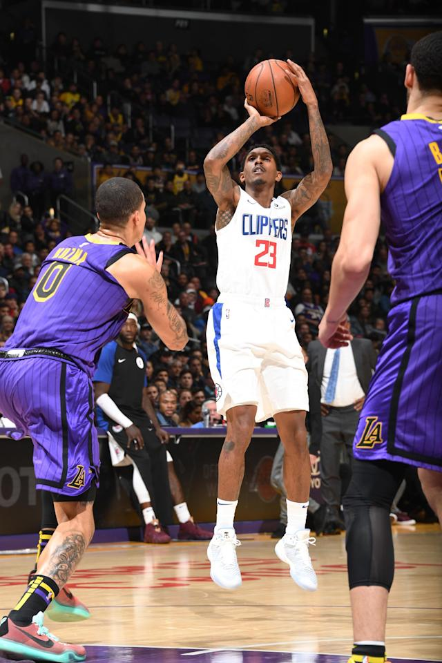 LOS ANGELES, CA - DECEMBER 28: Lou Williams #23 of the LA Clippers shoots the ball against the Los Angeles Lakers on December 28, 2018 at STAPLES Center in Los Angeles, California. (Photo by Andrew D. Bernstein/NBAE via Getty Images)