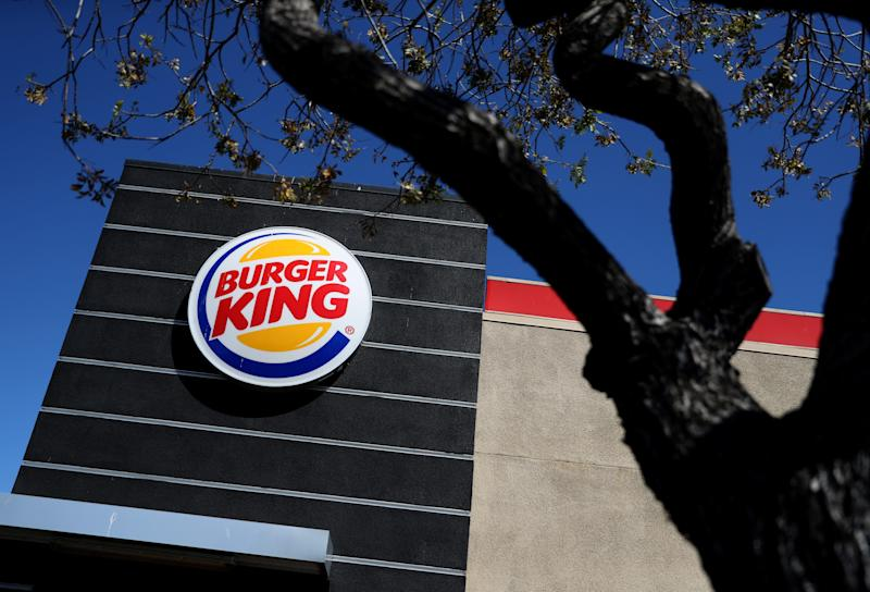 The Burger King logo is displayed on the exterior of a Burger King restaurant in California.