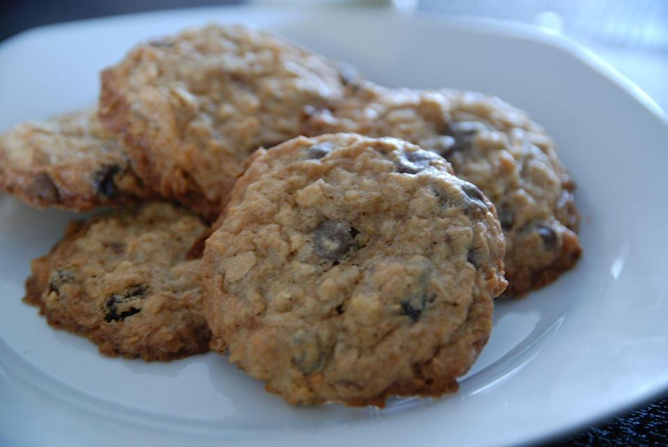 """<p>Wildnerness Place Lodge in Lake Creek, AK, is said to be responsible for the popularity of these oatmeal cookies, baked with tons of chewy goodness, including chocolate chips, coconut, raisins and walnuts.</p><p>Get the recipe from <a href=""""http://www.alaskafromscratch.com/2011/10/08/wilderness-lodge-cookies/"""" rel=""""nofollow noopener"""" target=""""_blank"""" data-ylk=""""slk:Alaska From Scratch"""" class=""""link rapid-noclick-resp"""">Alaska From Scratch</a>.</p>"""