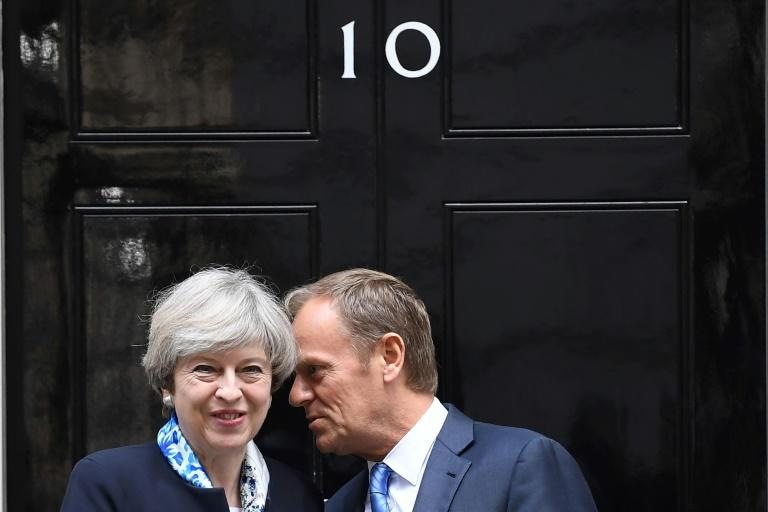 British Prime Minister Theresa May held talks with European Council President Donald Tusk in London, on April 6, 2017