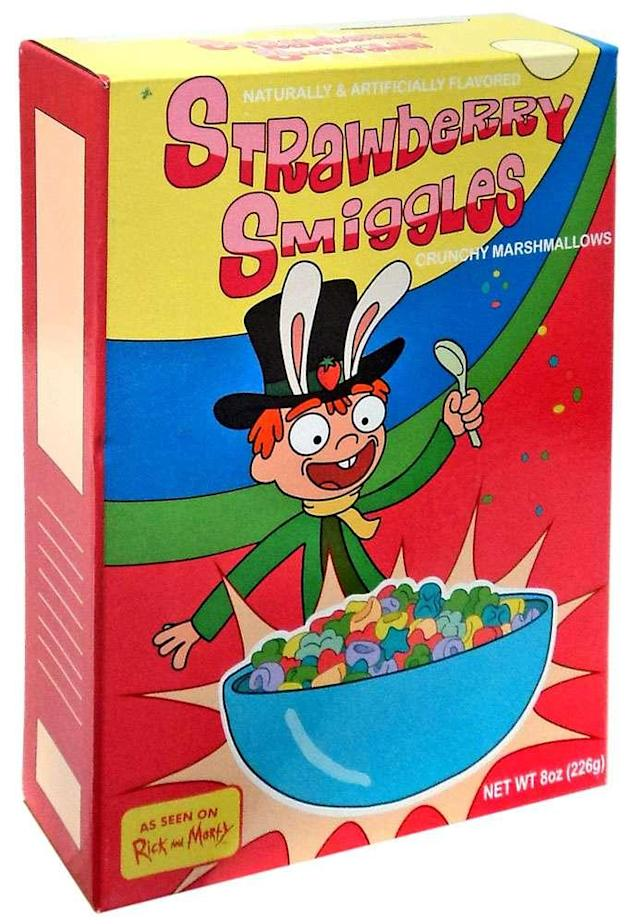 """<p>Introduced in 2017, and delicious in any dimension. (Photo: <a href=""""http://www.fye.com/s/product/4774273/Exclusive-Rick-Morty-Strawberry-Smiggles-Cereal?gclid=EAIaIQobChMI6uXzu_iH1wIVUrbACh1SEA45EAAYASAAEgIORPD_BwE"""" rel=""""nofollow noopener"""" target=""""_blank"""" data-ylk=""""slk:FYE"""" class=""""link rapid-noclick-resp"""">FYE</a>) </p>"""