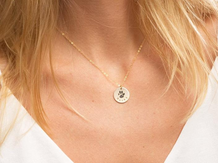 Paw Print Engraved Necklace
