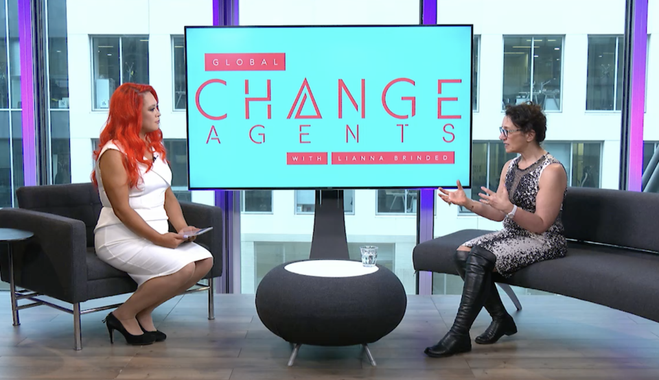 Sue Unerman (R), chief transformation officer at the UK's largest media agency, Mediacom speaking to Lianna Brinded at Yahoo Finance UK. Photo: Yahoo Finance UK