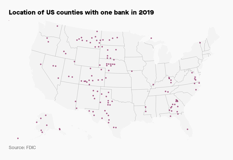 Image of the US with dots in the counties where there is only one bank.