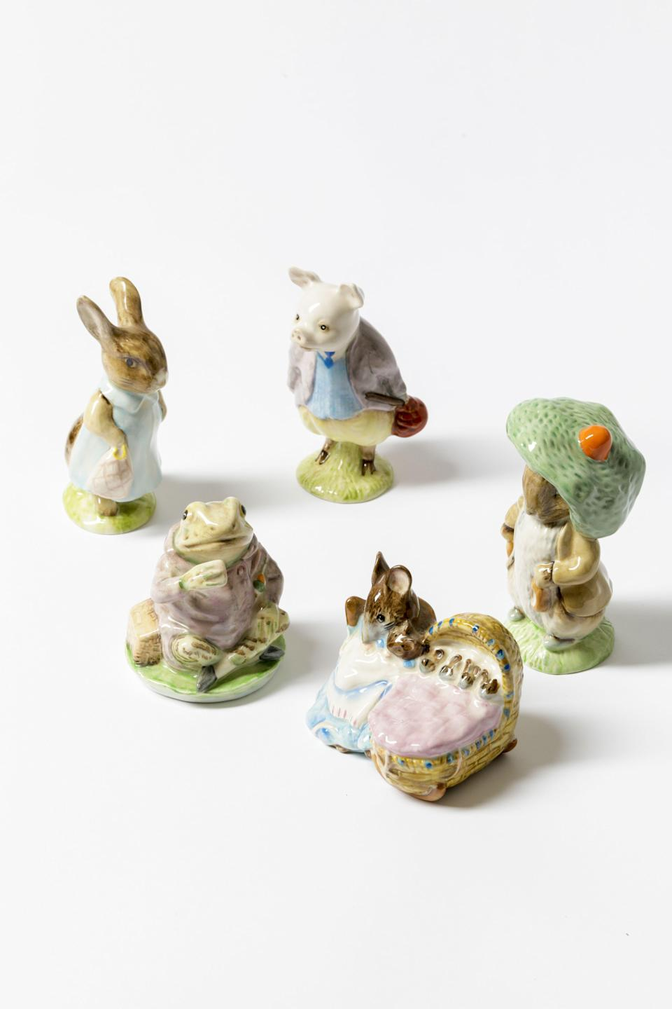 "<p>housesandparties.com</p><p><strong>$326.00</strong></p><p><a href=""https://housesandparties.com/collections/mr-mcgregors-garden/products/set-of-5-beatrix-potter-figurines"" rel=""nofollow noopener"" target=""_blank"" data-ylk=""slk:Shop Now"" class=""link rapid-noclick-resp"">Shop Now</a></p><p>An Easter forest would be incomplete without Beatrix Potter's playful figurines inspired by the beloved characters of Peter Rabbit. </p>"