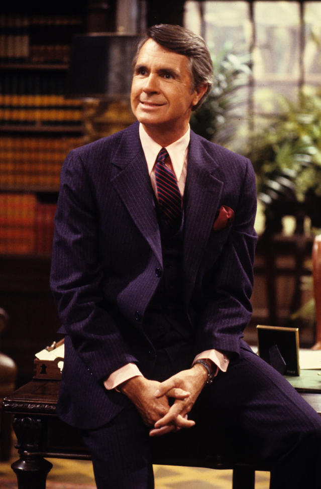 "<p>James Noble died at 94 on March 28. Noble was known for his portrayal of Governor Gatling on Benson from 1979 to 1986. — (Pictured) James Noble as Governor Eugene Gatling in a 1979 episode of ""Benson'. (ABC Photo Archives/ABC via Getty Images) </p>"