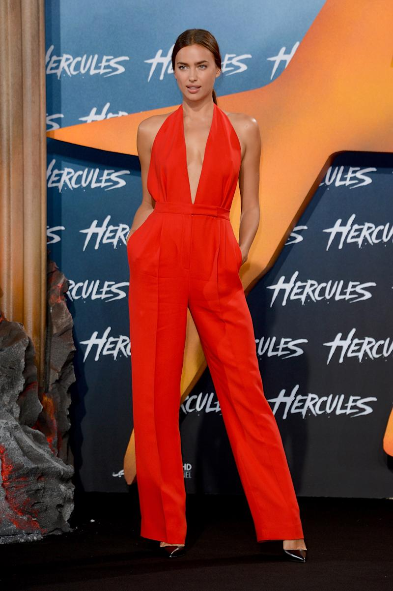 And opted for a bright red jumpsuit at the European premiere of Hercules.