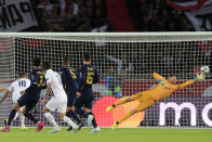 PSG's Angel Di Maria, 3rd left, scores his side's second goal during the Champions League group A soccer match between PSG and Real Madrid at the Parc des Princes stadium in Paris, Wednesday, Sept. 18, 2019. (AP Photo/Michel Euler)