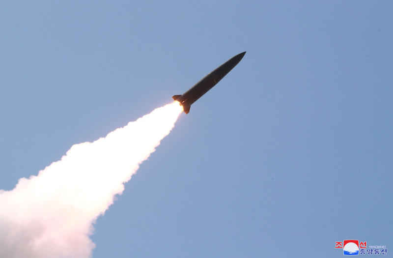 """This Thursday, May 9, 2019, photo provided Friday, May 10, 2019, by the North Korean government shows a launched projectile in a military test in North Korea. North Korea fired two suspected short-range missiles toward the sea on Thursday, South Korean officials said, its second weapons launch in five days and a possible warning that nuclear disarmament talks with Washington could be in danger. Independent journalists were not given access to cover the event depicted in this image distributed by the North Korean government. The content of this image is as provided and cannot be independently verified. Korean language watermark on image as provided by source reads: """"KCNA"""" which is the abbreviation for Korean Central News Agency. (Korean Central News Agency/Korea News Service via AP)"""