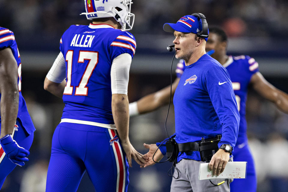 ARLINGTON, TX - NOVEMBER 28:  Head Coach Sean McDermott congratulates Josh Allen #17 of the Buffalo Bills after a touchdown during the second half of a game on Thanksgiving Day against the Dallas Cowboys at NRG Stadium on November 28, 2019 in Arlington, Texas.  The Bills defeated the Cowboys 26-15.  (Photo by Wesley Hitt/Getty Images)