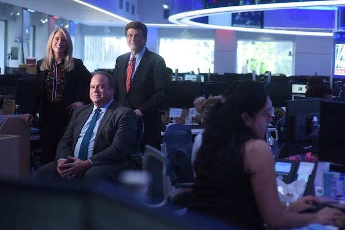 Chris Stirewalt, Fox News Digital Politics Editor, seated, with polling chief Dana Blanton and analyst Arnon Mishkin.