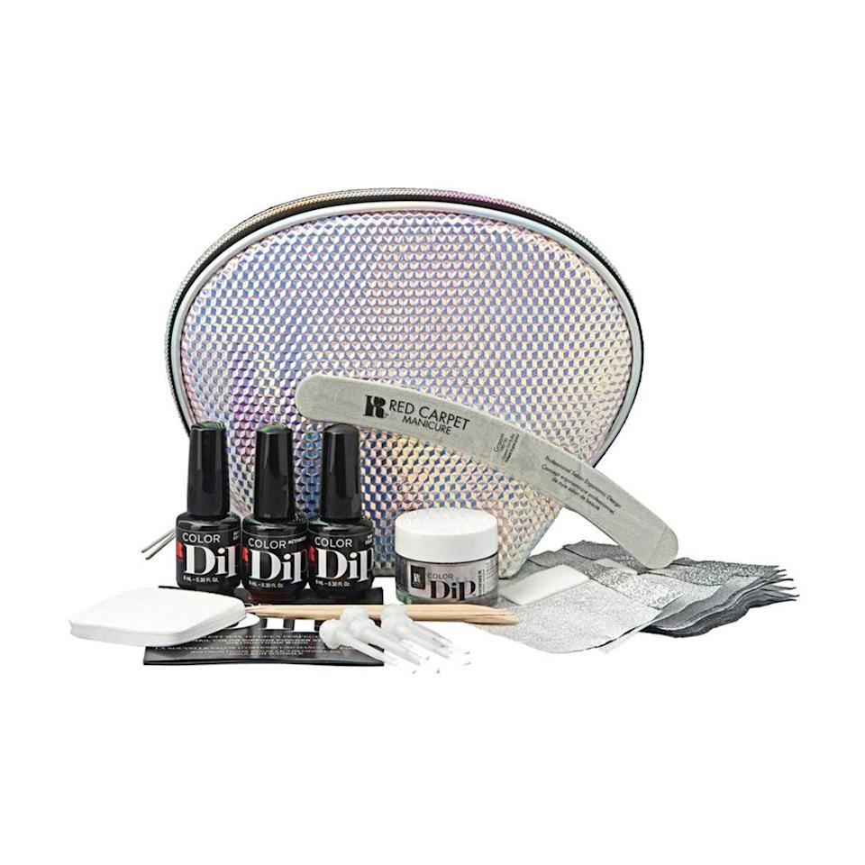 """<p><strong>Red Carpet Manicure</strong></p><p>amazon.com</p><p><strong>$35.99</strong></p><p><a href=""""http://www.amazon.com/dp/B07L525M4D/?tag=syn-yahoo-20&ascsubtag=%5Bartid%7C2089.g.20064837%5Bsrc%7Cyahoo-us"""" target=""""_blank"""">Shop Now</a></p><p>A one-stop shop for a powder-dip manicure, Red Carpet's starter kit includes the usual essentials, as well as foils for removal, and nail files. This is a great dip-powder nail kit if your arsenal of nail tools isn't fully stocked!</p><p><strong>More:</strong> <a href=""""https://www.bestproducts.com/beauty/g1203/spring-nail-polish-colors/"""" target=""""_blank"""">At-Home Gel Kits for a Longer-Lasting Mani</a></p>"""