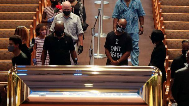 PHOTO: People pay their respects during the public viewing for George Floyd in Houston, June 8, 2020. (Carlos Barria/Reuters)