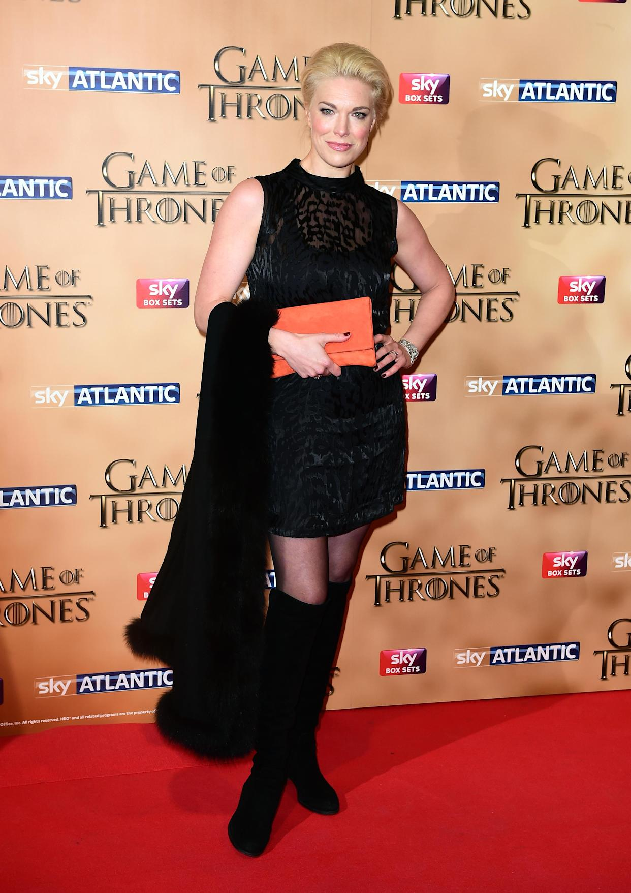 Hannah Waddingham attending the world premiere of the fifth series of Game of Thrones at the Tower of London. PRESS ASSOCIATION Photo. Picture date: Wednesday March 18, 2015. See PA story SHOWBIZ Thrones. Photo credit should read: Ian West/PA Wire